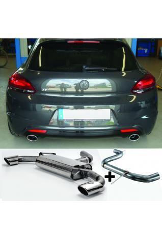 FOX RACING Komplettanlage ab Kat VW Scirocco 13 2.0l TFSI  2.0l TDI (mit R-Heck Stoßstange) - rechts links je 1 x 115x85mm oval (RohrØ 70mm)