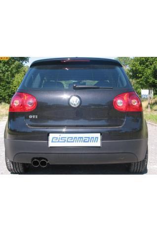 EISENMANN Sportauspuff Endschalldämpfer Edelstahl VW Golf 5 Limousine GTI 2.0l FSI Turbo - 2 x 76mm abgeschrägt poliert in hartverchromter Ausführung