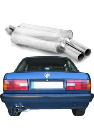 EISENMANN Sportauspuff Endschalldämpfer Edelstahl BMW E30 320i 325i - 2 x 70mm gerade poliert