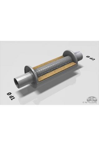 Uni-Schalldämpfer rund mit Stutzen -  Ø 125mm, Eingang Ø 88,9mm - Länge: 250mm
