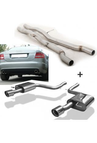 FOX Racing Sportauspuff Komplettanlage Audi A6 Typ 4F Quattro Limousine Avant - je 1 x 90mm schräg (RohrØ 63.5mm)