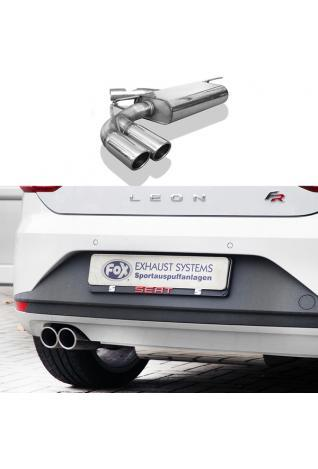 FOX Sportauspuff Endschalldämpfer für Seat Leon 5F + SC mit Starrer Hinterachse Endrohre einseitig 2x80 mm Typ 16 Rohrdurchmesser 70 mm