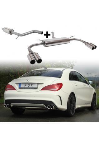 Fox Sportauspuff Komplettanlage ab Kat Mercedes CLA C117+X117 180 200 250 re/li je 2 x 80mm für waagerechten Kat.