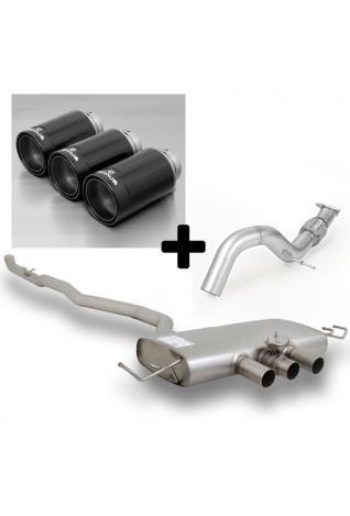Remus Sportauspuff Racing Anlage ab Kat mit Klappe Honda Civic Type R 3 Endrohren Ø 98mm Black
