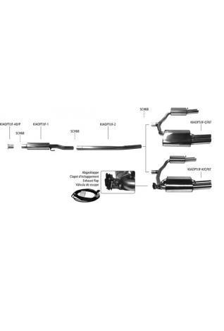 Bastuck Duplex Sportauspuff Racinganlage für Kia Optima Typ JF GT Line Limousine + Sportswagon inklusive Facelift ab 2018 re/li 2x76mm