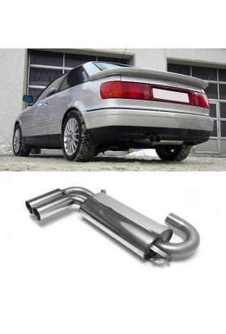 FOX Sportauspuff Endschalldämpfer Audi 80 u. 90 Typ 89 (Limousine u. Coupe) Quattro 2x 76mm