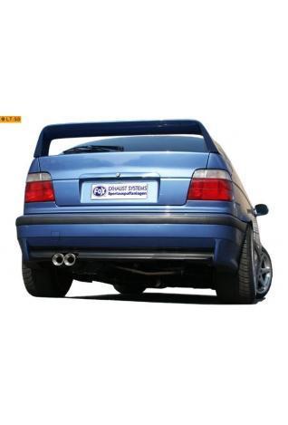 FOX Sportauspuff Komplettanlage ab Kat. Edelstahl BMW E36 Compact 1.6l - 2 x 80mm Eclair-rund uneingerollt gerade mit Absorber