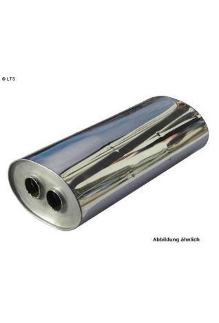 Universalschalldämpfer Oval zweiflutig mit Y-Aufbau Eingang Ø 63.5mm (d1)- Ausgang Ø 55mm (d2) Schallkörper B278 x H192 x L420mm Edelstahl