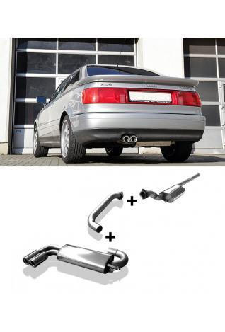 FOX Komplettanlage ab Kat. Audi 80 u. 90 Typ 89 Quattro 1.8l  1.9l  2.0l  2.2l  2.3l  2 ER 76mm  eingerollt  gerade  mit Absorber Edelstahl Sportauspuff Ø63,5mm