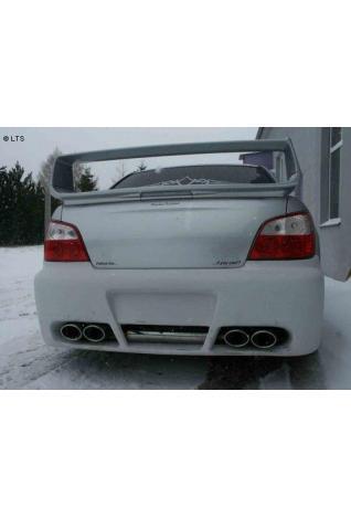 FOX Sportauspuff Duplex Endschalldämpfer quer Edelstahl Subaru Impreza ab Bj. 00 2.0l Turbo  2.0l - rechts links je 2 x 115x85mm oval eingerollt abgeschrägt mit Absorber