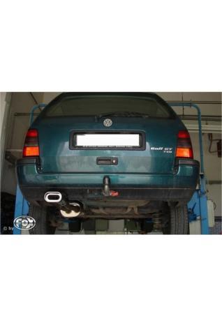 VW Golf 3 Variant 1.4l  1.6l  1.8l  2.0l  1.9l D  1.9l TDI ab Bj. 91  FOX Racing-Komplettanlage ab Kat. 135x80mm flachoval eingerollt abgeschrägt mit Absorber (RohrØ 50mm)