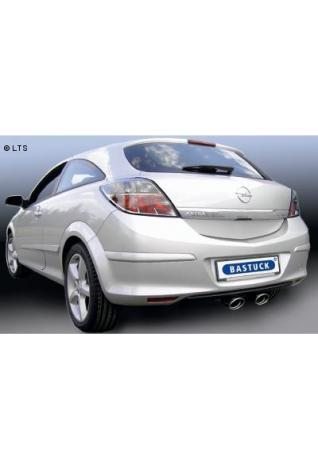 Opel Astra H Schrägheck inkl. GTC 1.6l Turbo  2.0l Turbo Bj. 04-09  BASTUCK Sportauspuff 2 x 120x80mm oval mit Einsatz - Ausgang mittig (AnschlussØ 70mm)