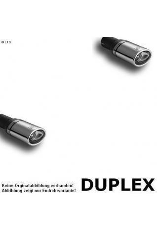 Ulter Duplex Sportauspuff 1 x 95x65mm eingerollt rechts-links - Skoda Fabia I Limousine und Kombi 1.2l bis 1.4l und 1.4 TDI bis 1.9 TDI