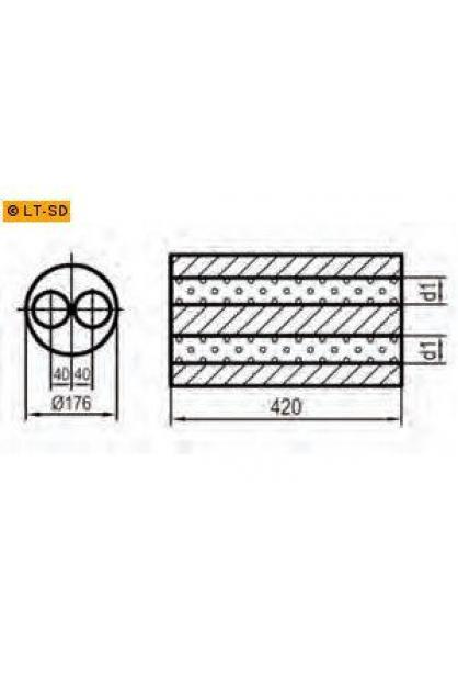 Universalschalldämpfer Rund zweiflutig Eingang Ø 70mm Schallkörper Ø 176mm Länge 420mm Edelstahl
