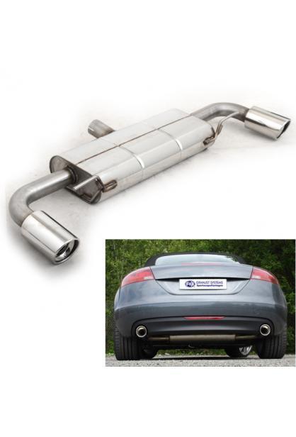 FOX Sportauspuff Audi TT Typ 8J 1.8l 2.0l TFSI re/li je 1 x 100mm schräg RohrØ 63,5mm