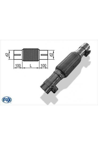 Flexrohr Edelstahl Interlock Ø90mm Länge: 200mm mit Stutzen - inkl. Schellen