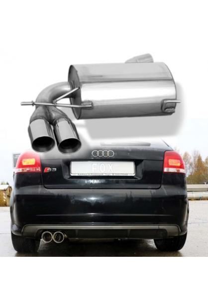 FOX Sportauspuff Endschalldämpfer Audi S3 quattro Typ 8P ab Bj. 2006 2x90mm