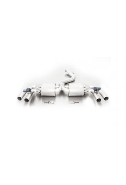 Remus Duplex Komplettanlage (Zwischenrohr) ab Kat. mit 2 integrierten Klappen Audi RS3 Typ 8V 2.5l Turbo quattro li/re je 2 x 84mm verchromt
