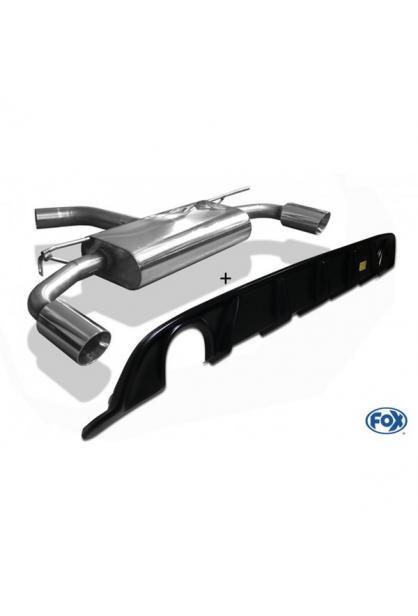 FOX Duplex Sportauspuff VW Golf VII Facelift Einzelradaufhängung re/li je 1x114mm inkl. Heckeinsatz schwarz matt