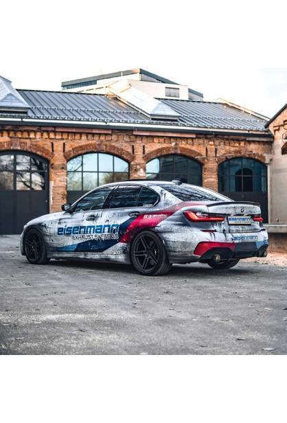 Eisenmann Klappen Sportauspuff BMW G20 3er 320i 330i inkl. xDrive re li je 1x90mm schräg Chrom-Carbon