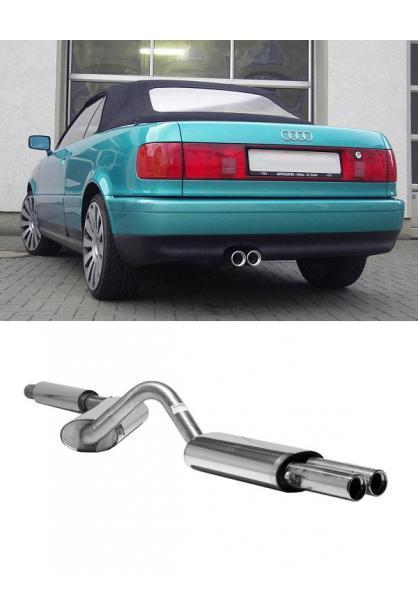 FOX Komplettanlage ab Kat. Audi 80 u. 90 Typ 89 Coupe 2.6l 2.8l bis Bj.94 2x76mm mit Absorber