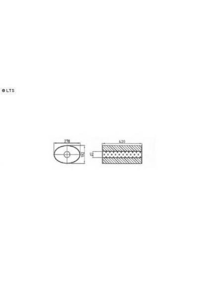 Universalschalldämpfer Oval einflutig ohne Stutzen Eingang Ø 70mm Schallkörper B278 x H192 x L420mm Edelstahl