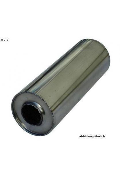 Universalschalldämpfer Rund einflutig ohne Stutzen Eingang Ø 50mm Schallkörper Ø 198mm Länge 420mm Edelstahl