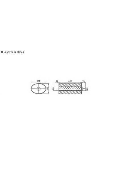 Universalschalldämpfer Oval einflutig mit Stutzen Eingang Ø 63.5mm Schallkörper B278 x H192 x L420mm Edelstahl