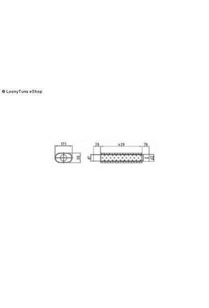 Universalschalldämpfer Oval einflutig mit Stutzen Eingang Ø 45mm Schallkörper B173 x H98 x L420mm Edelstahl