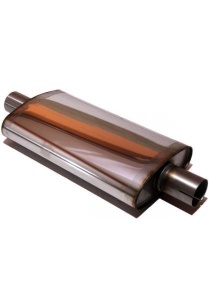 Universalschalldämpfer Oval einflutig mit Stutzen Eingang Ø 63.5mm Schallkörper B235 x H97 x L420mm Edelstahl