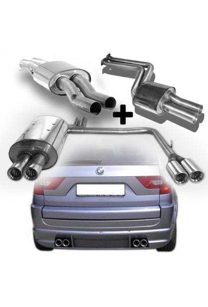 FOX Komplettanlage ab Kat. BMW X3 E83 ab Bj. 04 2.5l 3.0l rechts links je 2x76mm  eingerollt