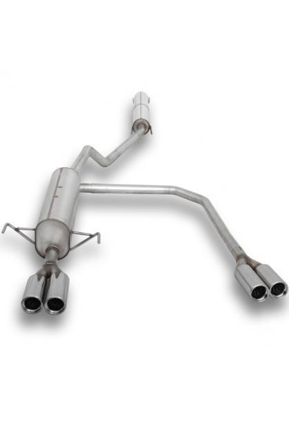 FOX Duplex Komplettanlage ab Kat. Opel Astra H Caravan ab Bj. 04 1.4l  1.6l  1.8l  - rechts links je 2 x 76mm eingerollt gerade mit Absorber  Edelstahl Sportauspuff