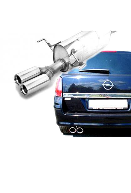 FOX Komplettanlage ab Kat. Opel Astra H Caravan ab Bj. 04  2.0l Turbo - 2 x 76mm eingerollt gerade mit Absorber  Edelstahl Sportauspuff