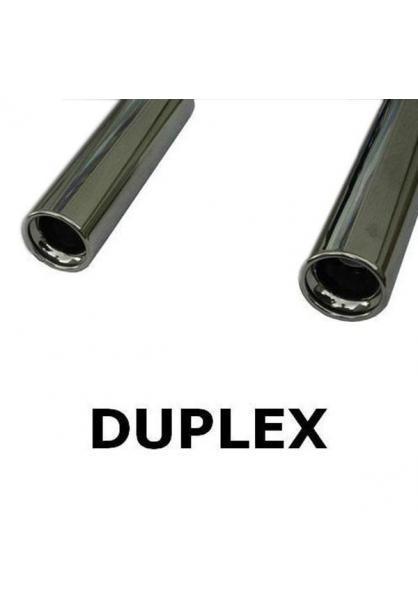 FOX Duplex Komplettanlage ab Kat. Kia Cerato ab Bj.  04  rechts   links je 1 ER 90mm   eingerollt   gerade   mit Absorber  Edelstahl Sportauspuff