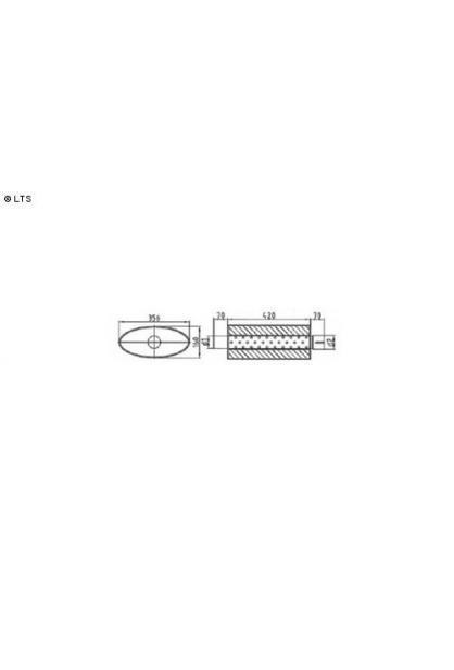 Universalschalldämpfer Oval einflutig mit Stutzen AnschlussØ 80mm Schallkörper B356 x H160 x L420mm Edelstahl