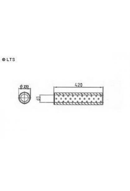 Universalschalldämpfer Rund einflutig ohne Stutzen Eingang Ø 45mm Schallkörper Ø 150mm Länge 420mm Edelstahl