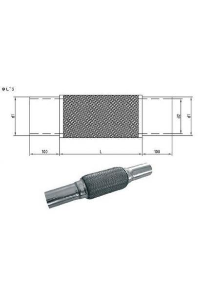 Flexrohr mit Edelstahl-Anschlussrohren Ø 40mm (d1) Länge 200mm FOX Universal