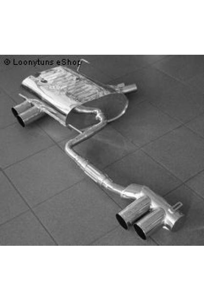 EISENMANN Sportauspuff Duplex Endschalldämpfer Edelstahl BMW E85 Roadster und E86 Coupe mit Aerodynamic Heckschürze 2.5l  2.5l Si  3.0l Si - rechts links je 2 x 76mm gerade poliert hartverchromt - RACE-Version