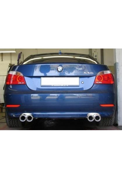 FOX Duplex Sportauspuff BMW E60 u. E61 ab 03  2.0l D  2.5l D  3.0l D  rechts  links je 2 ER 76mm  eingerollt  gerade  mit Absorber (RohrØ 70mm)