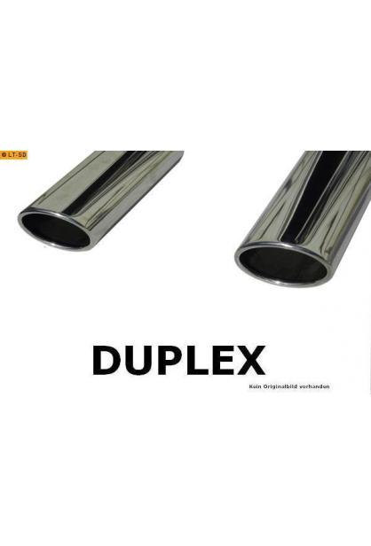 FOX Sportauspuff Duplex Komplettanlage ab Kat. Edelstahl Renault Twingo 1.2l - rechts links je 115x85mm oval eingerollt abgeschrägt mit Absorber