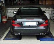 EISENMANN Sportauspuff Duplex Endschalldämpfer inkl. Mittelschalldämpfer Edelstahl Mercedes Benz SL55AMG - rechts links je 2 x 120x77mm rundoval eingerollt abgeschrägt hartverchromt