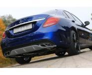 Fox Duplex Endschalldämpfer Sportauspuff für Mercedes-Benz C-Klasse 205 Limousine/T-Modell ab Bj. 2013
