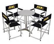 ST Regiestuhlset 4 Stühle + 1 Tisch