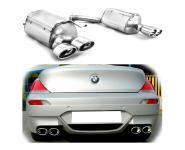 Ulter Duplex EDELSTAHL Sportauspuff Endschalldämpfer für BMW 6er E63 645Ci 4Rohr 120x80mm