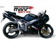 Mivv Sport-Line Oval mit hochgezogenen Carbon Schalldämpfer Slip on für KAWASAKI ZX-6 RR Bj. 03-04