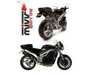 Mivv Sport-Line Oval High Up Carbon Schalldämpfer Slip on für TRIUMPH SPEED TRIPLE 955 Bj. 02-04