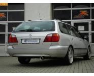 FOX Sportauspuff Endschalldämpfer Edelstahl Nissan Primera P11 Kombi Traveller Bj. 99-02  1.6l  1.8l  2.0l  2.0l TD  1 ER  90mm  eingerollt  gerade  mit Absorber