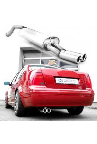 FOX Sportauspuff Endschalldämpfer Edelstahl  VW Bora 1J und VW Bora Variant 1J  ab Bj. 97  1.4l  1.6l T  1.8l  2.0l  2.3l  1.9l SDI  1.9l TDI  2 ER  76mm  eingerollt  gerade  mit Absorber