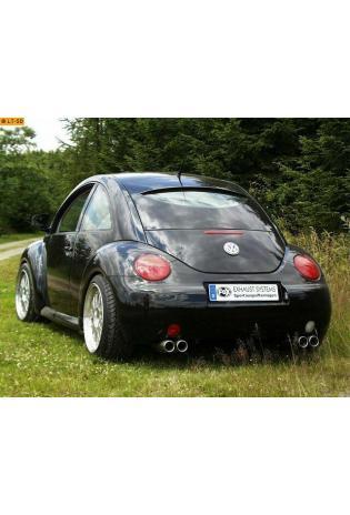 FOX Duplex Sportauspuff Endschalldämpfer Edelstahl VW New Beetle  1C u. 9C u. Cabrio 1Y  ab Bj. 98  1.6l  1.8l T  2.0l  2.3l  1.9l TD je 2 ER  76mm  eingerollt  gerade  mit Absorber