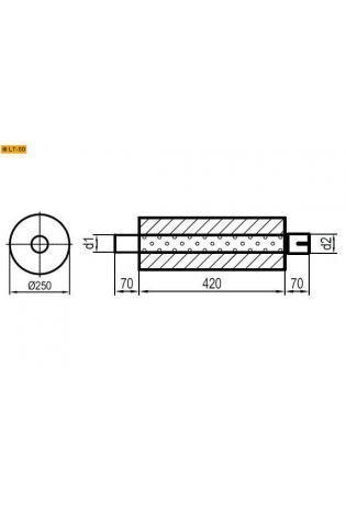 Universalschalldämpfer Rund einflutig mit Stutzen Eingang Ø 70mm Schallkörper Ø 250mm Länge 420mm Edelstahl